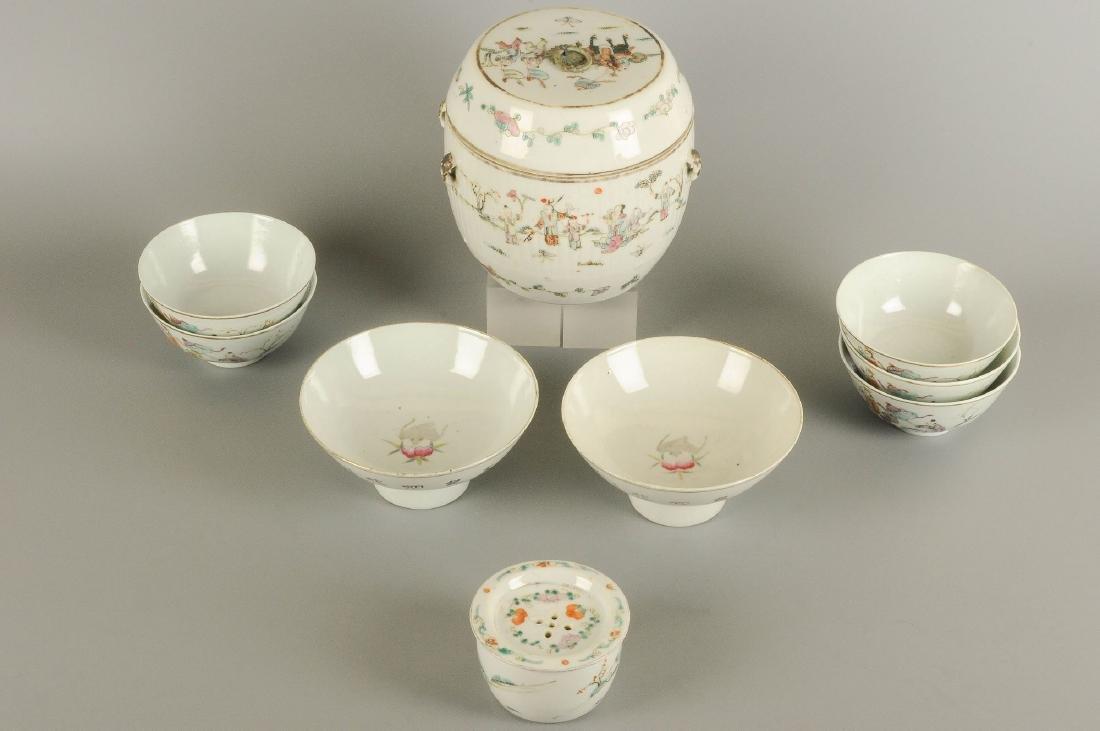A polychrome porcelain lidded pot with thread eyes and - 3
