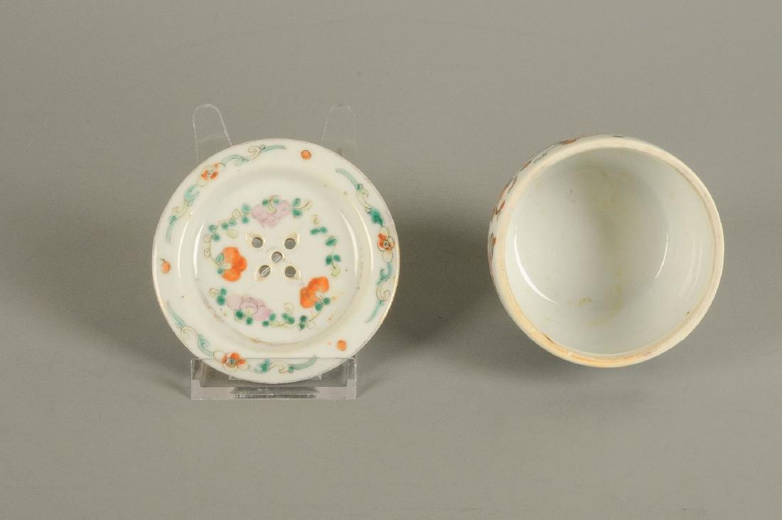 A polychrome porcelain lidded pot with thread eyes and - 5