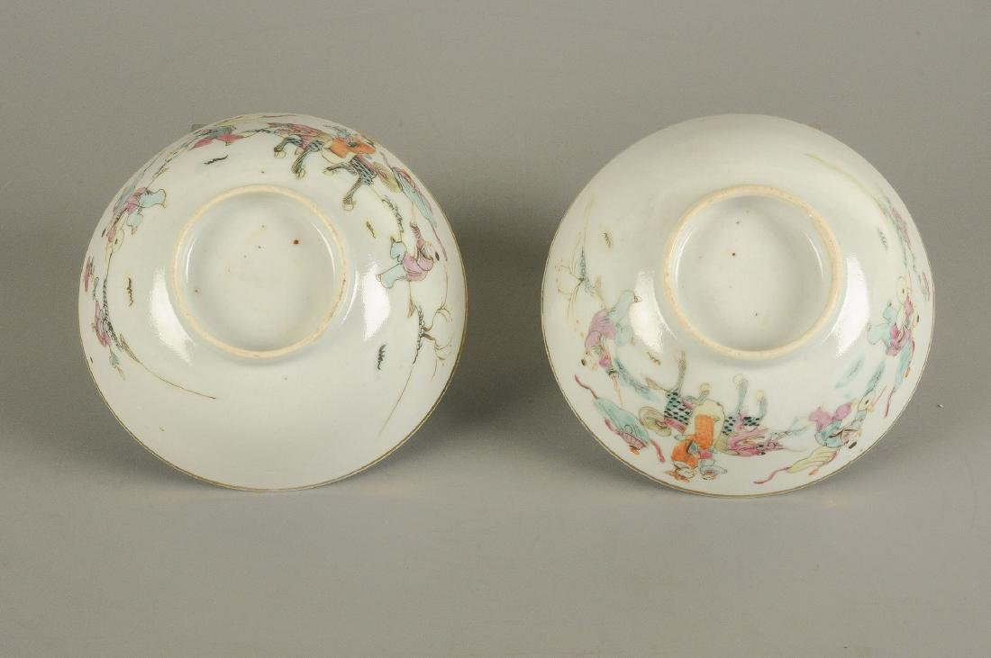 A polychrome porcelain lidded pot with thread eyes and - 7