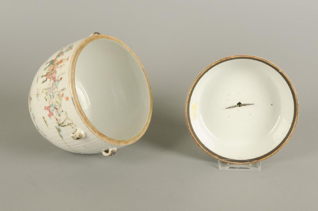 A polychrome porcelain lidded pot with thread eyes and - 8