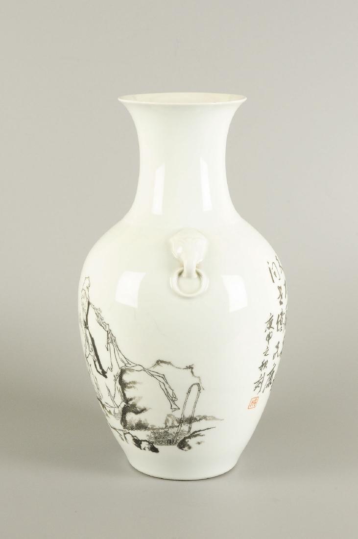 A porcelain baluster vase with a black ink decor of - 3
