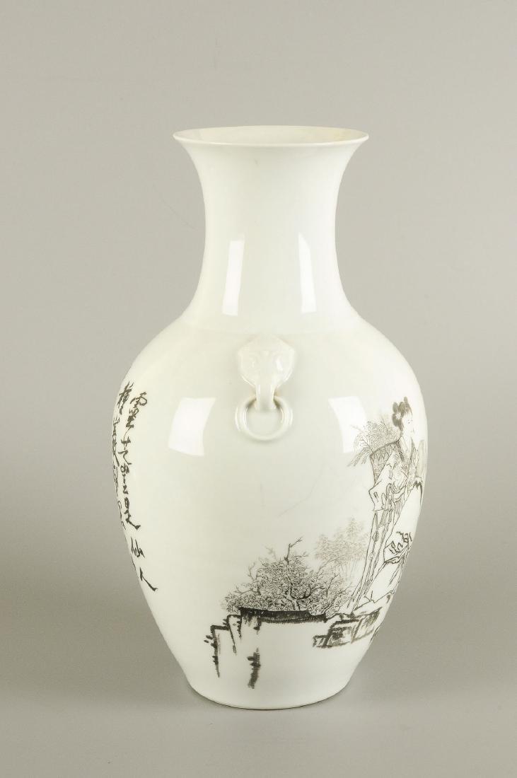 A porcelain baluster vase with a black ink decor of - 5