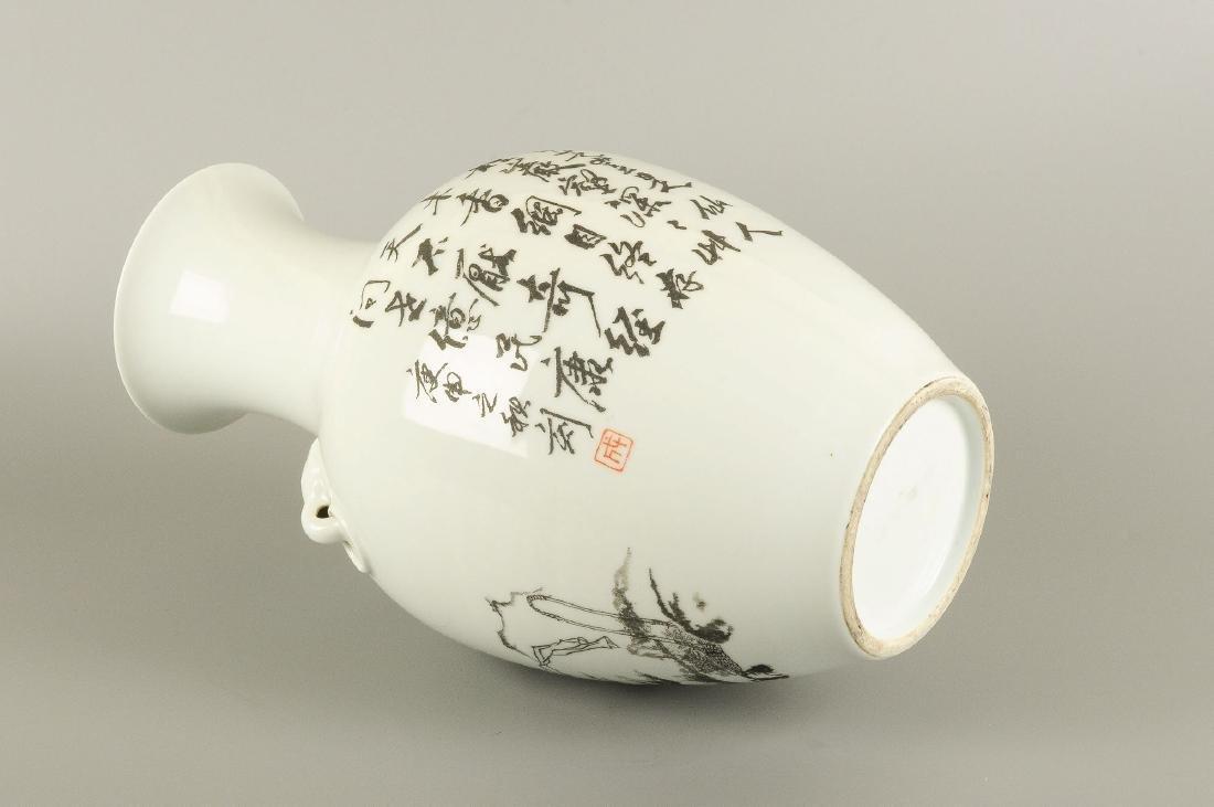 A porcelain baluster vase with a black ink decor of - 7