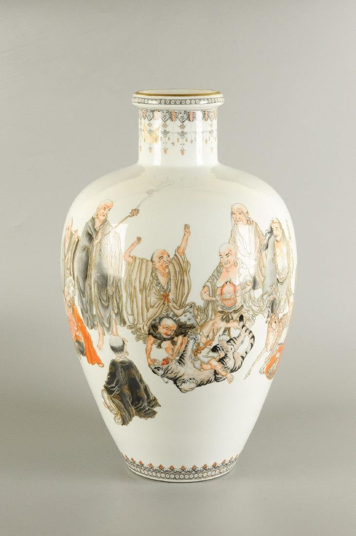 A polychrome porcelain vase decorated with figures, a - 6