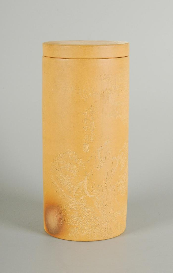 A Yixing lidded vase engraved with figure in landscape - 6