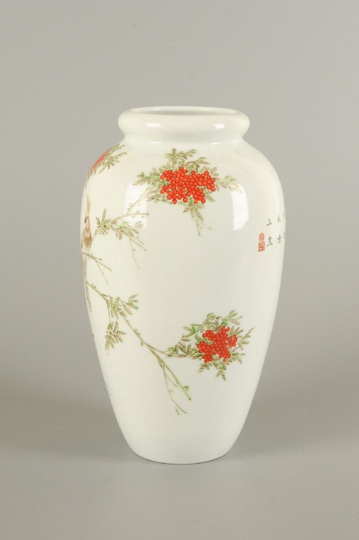 A polychrome porcelain vase decorated with floral - 2