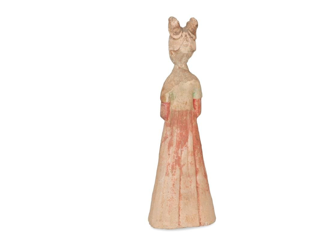 A polychrome pottery standing court lady with long - 2