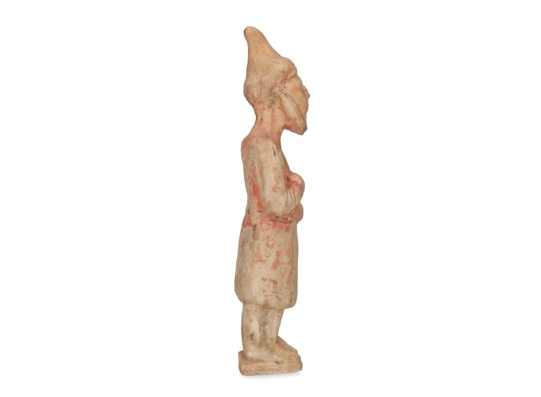 Two polychrome pottery sculptures of servants. China, - 4
