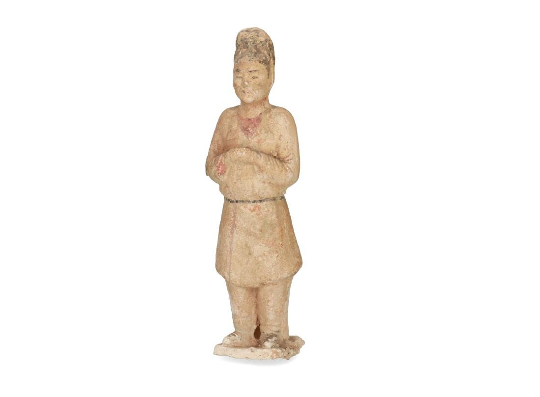 Two polychrome pottery sculptures of servants. China, - 6