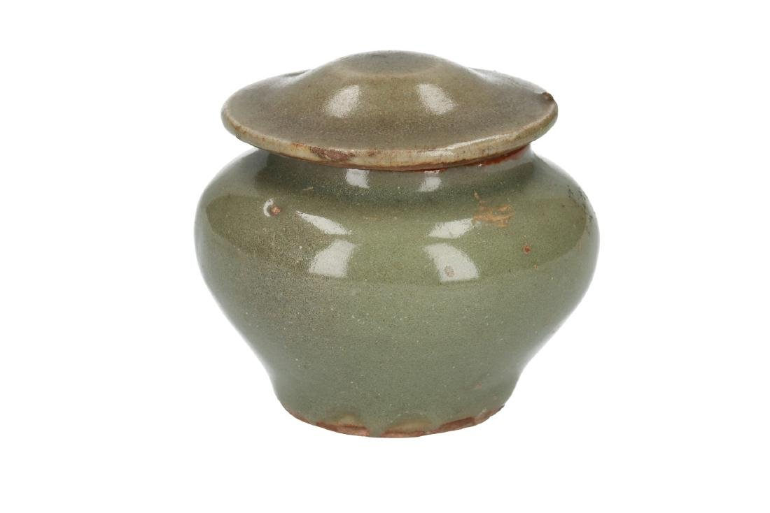 A celadon pottery lidded baluster jar. China, Qing,