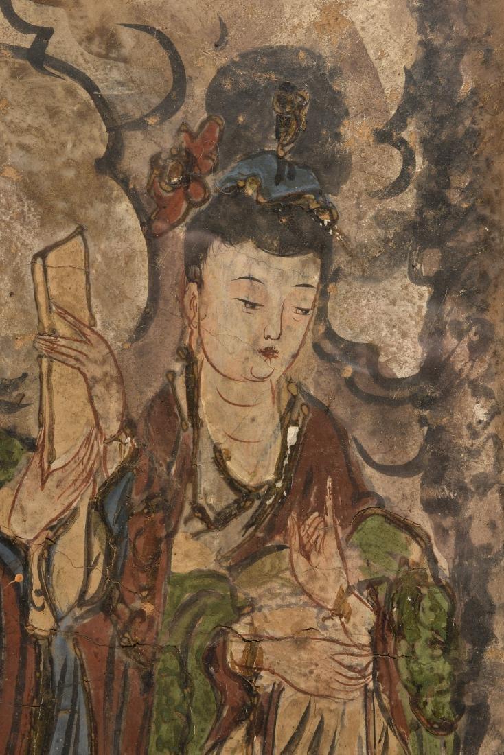 A very rare polychrome fresco painting on clay (loam) - 3