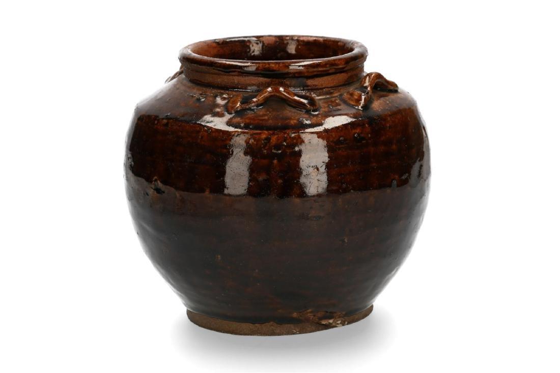 A brown glazed stoneware Martaban storage jar. China,