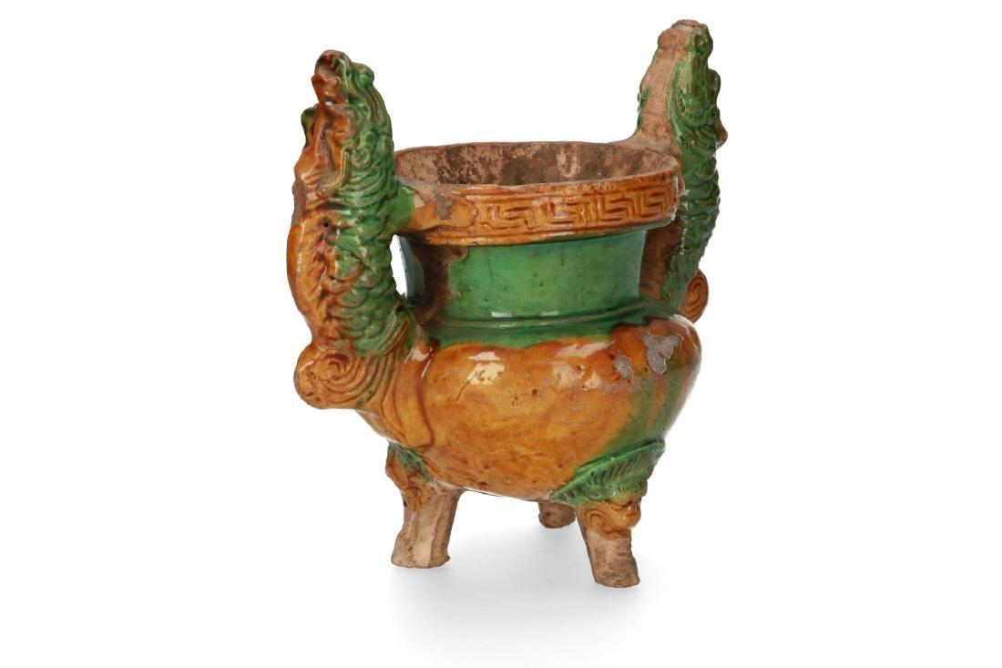 A pottery double dragon sancai glazed tripod incense - 2