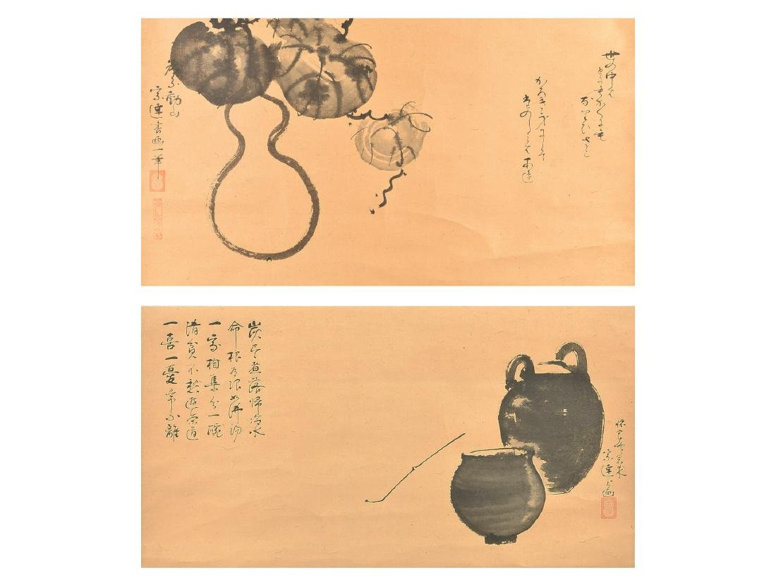A pair of hanging scrolls. One with gourd and melon,