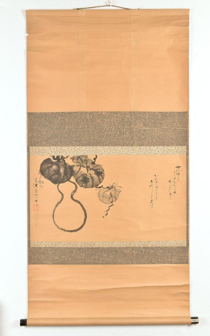 A pair of hanging scrolls. One with gourd and melon, - 2