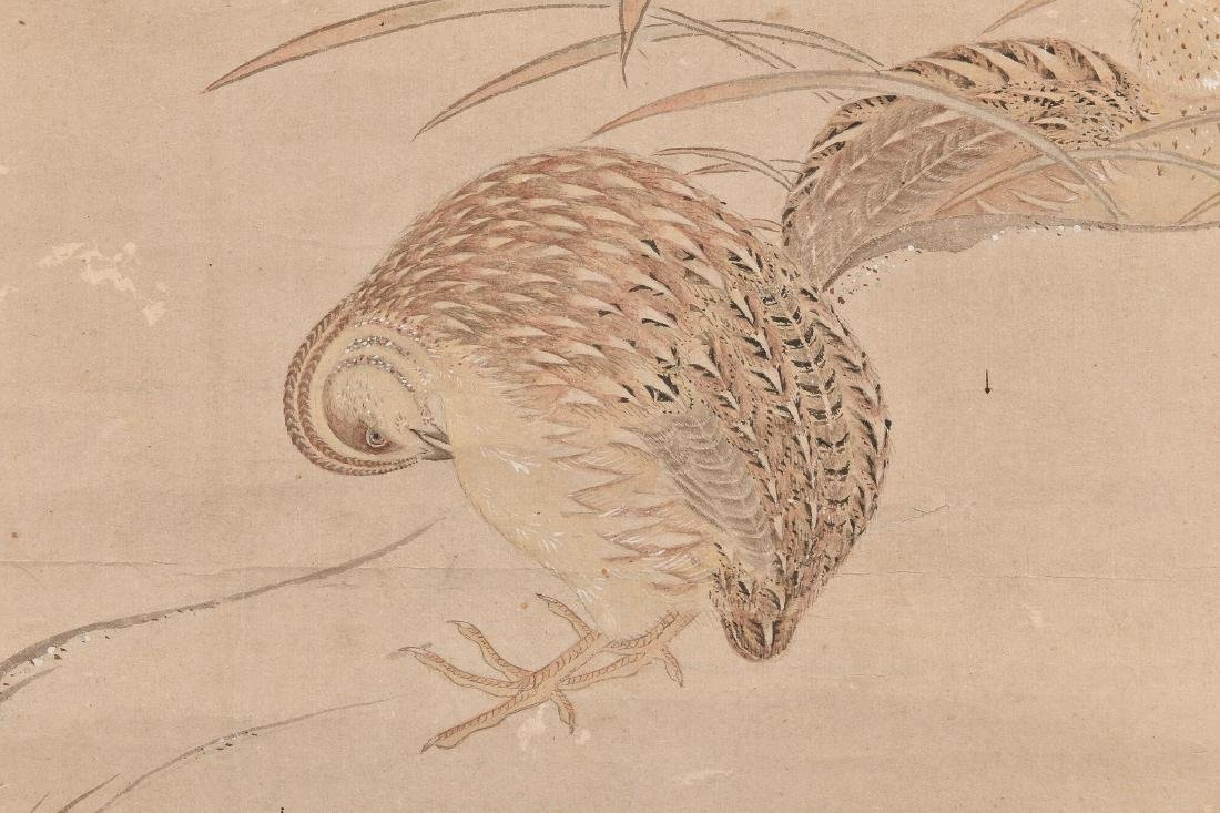 A very finely painted hanging scroll with two quails - 2