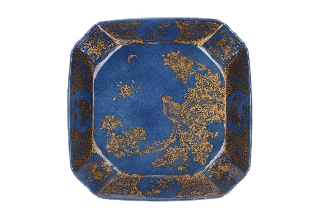 A powder-blue-ground and gilt Famille Verte square deep