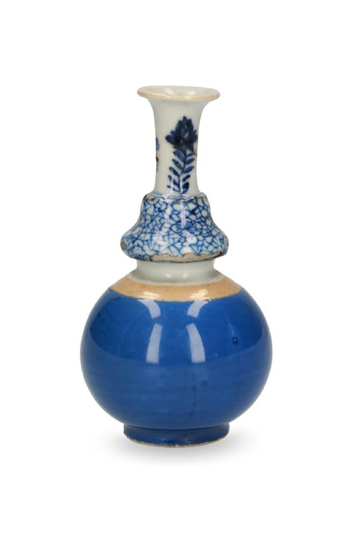 A blue and white and café-au-lait  porcelain triple