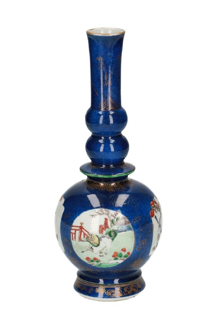 A powder blue porcelain bottle neck vase. The body with - 2