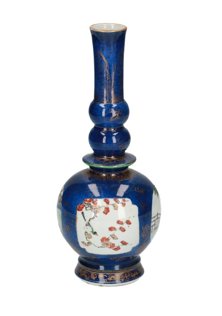 A powder blue porcelain bottle neck vase. The body with - 3