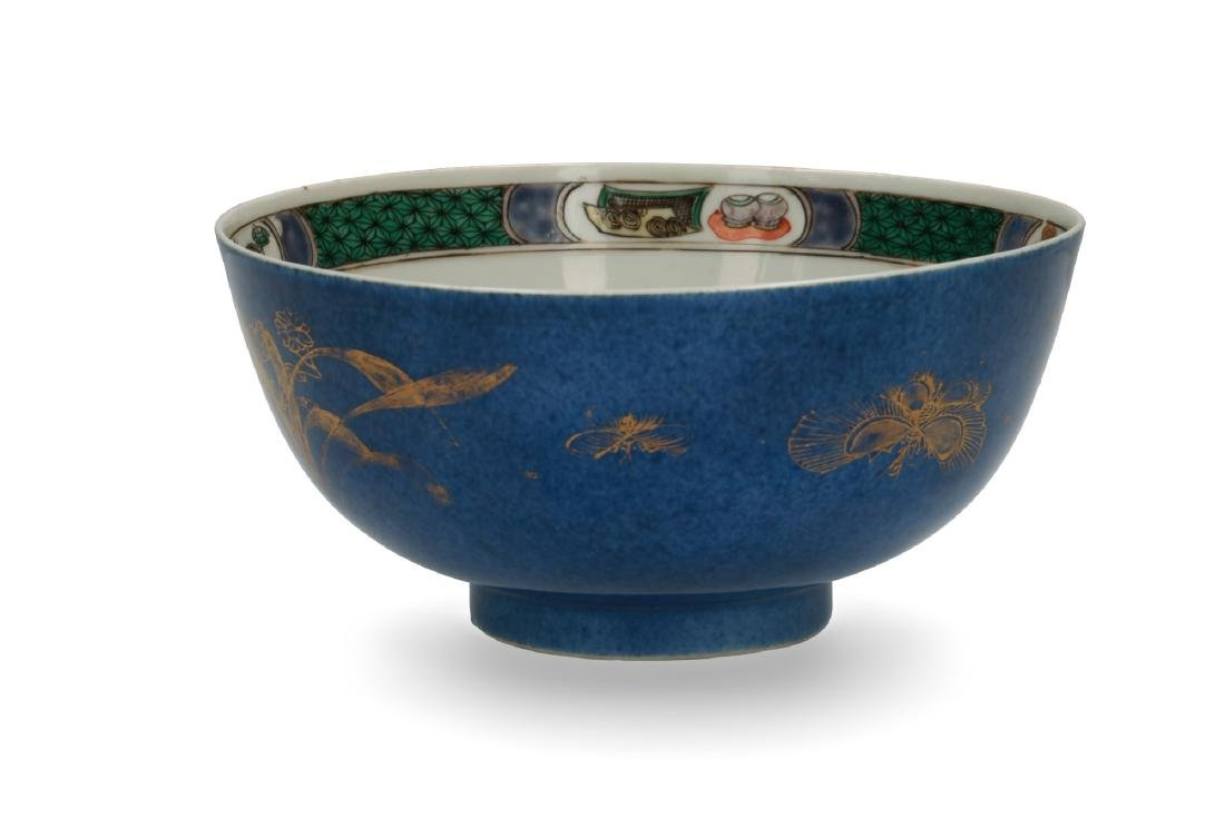 A powder blue and gilt porcelain Famille Verte bowl.