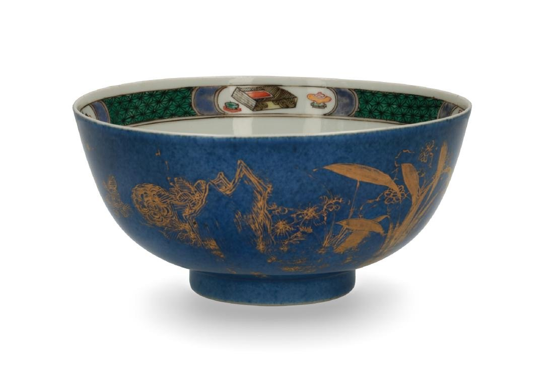 A powder blue and gilt porcelain Famille Verte bowl. - 3