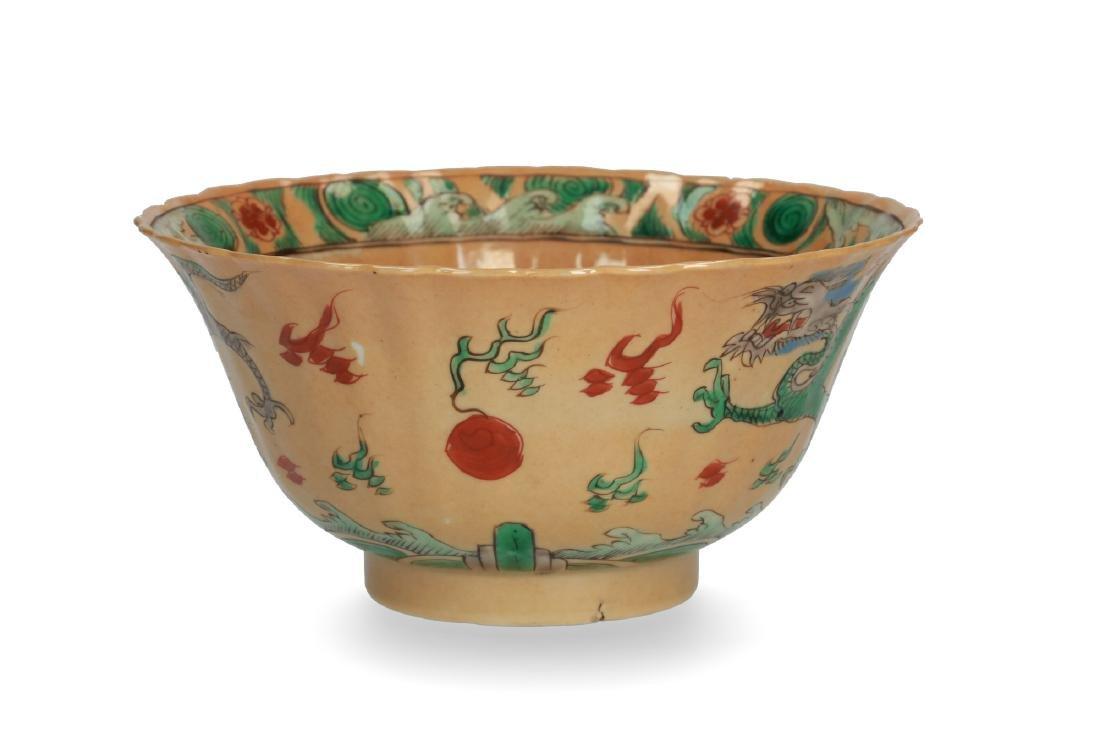 A café-au-lait Famille Verte bowl with flaring rim and