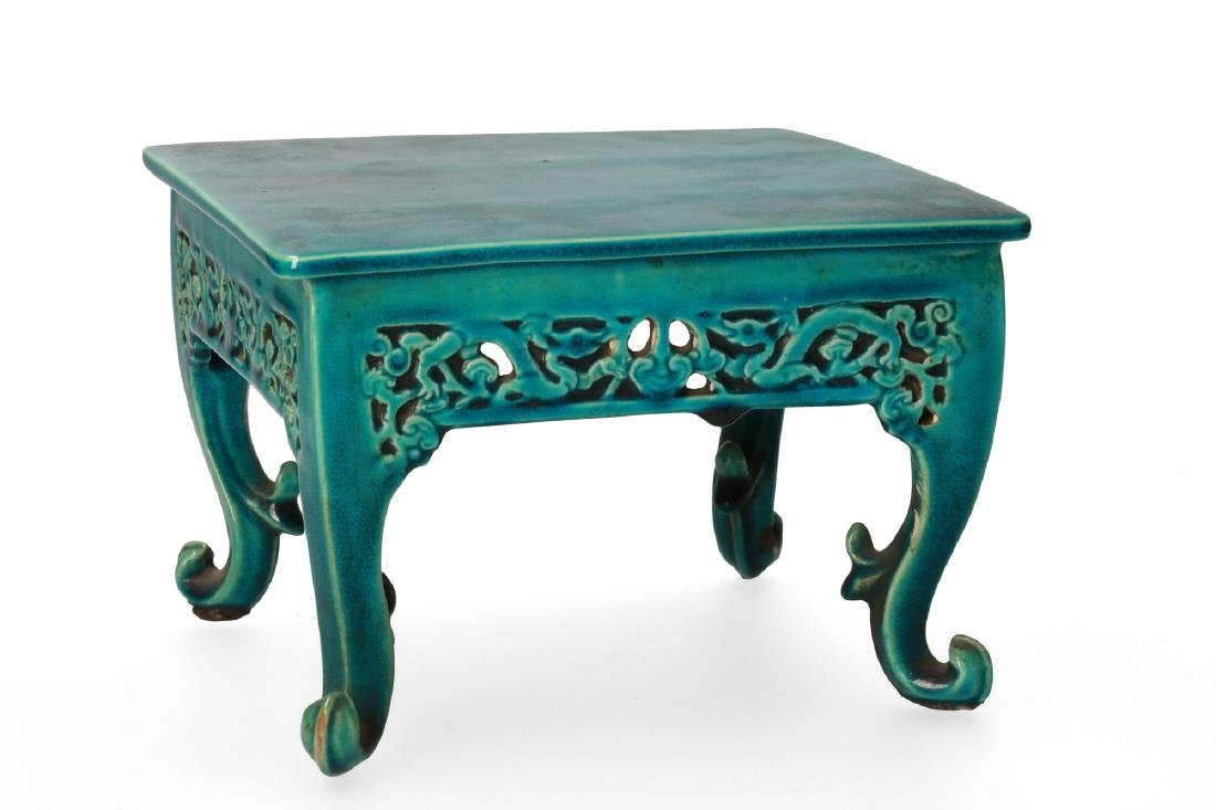 A rare miniature square shaped turquoise biscuit table