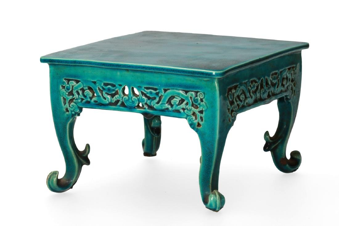 A rare miniature square shaped turquoise biscuit table - 2