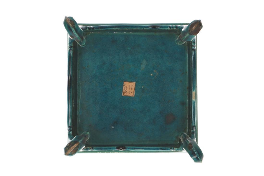 A rare miniature square shaped turquoise biscuit table - 3