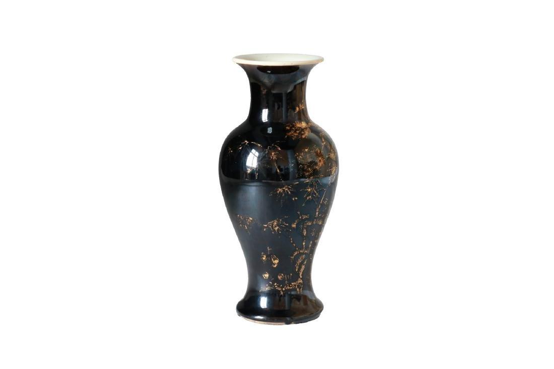 A Famille Noir porcelain baluster vase with gilt decor - 2