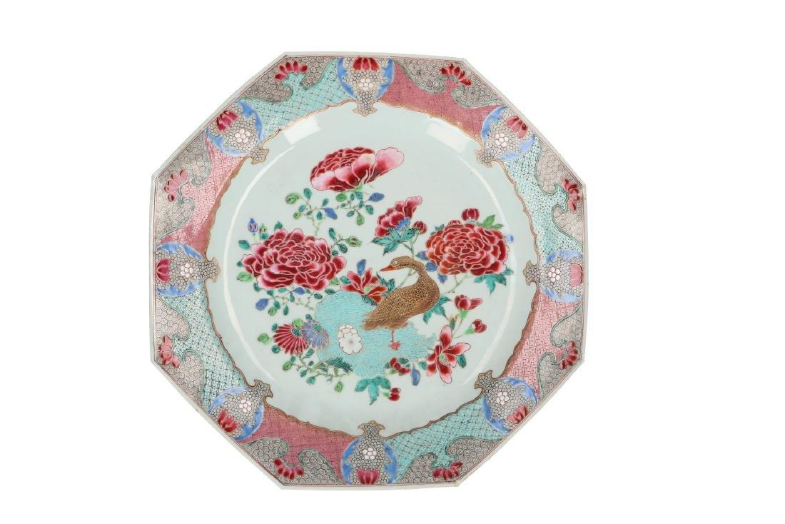A large octagonal Famille Rose 'Golden Goose' charger,