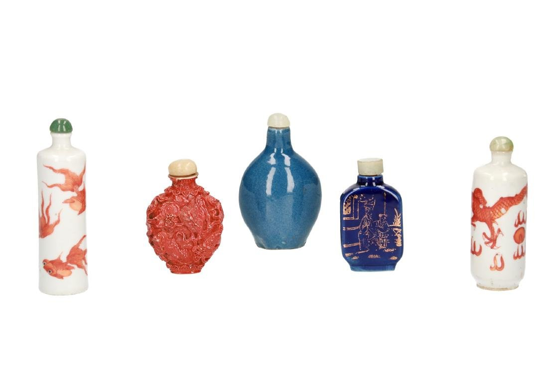 A lot of five various snuff bottles. China, 19th