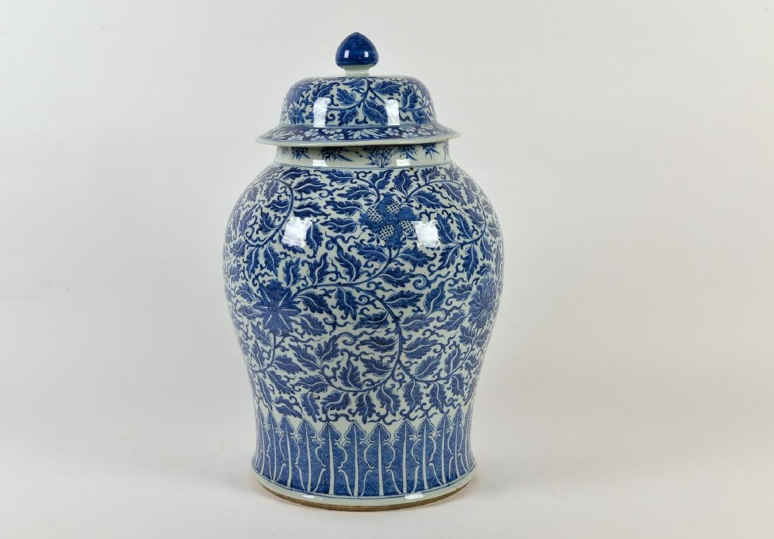 A rare blue and white porcelain lidded jar decorated - 2