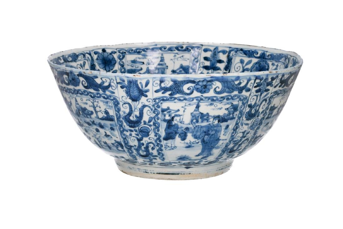 A rare blue and white 'kraak' porcelain bowl with