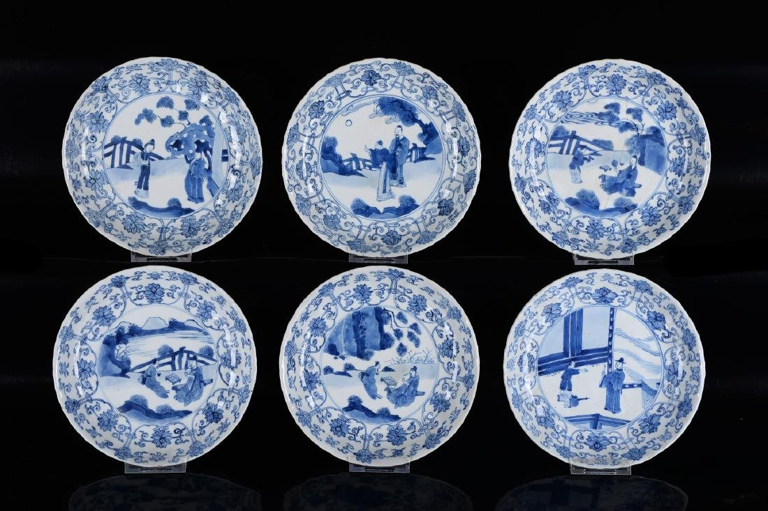 Lot of six blue and white porcelain dishes, decorated - 8