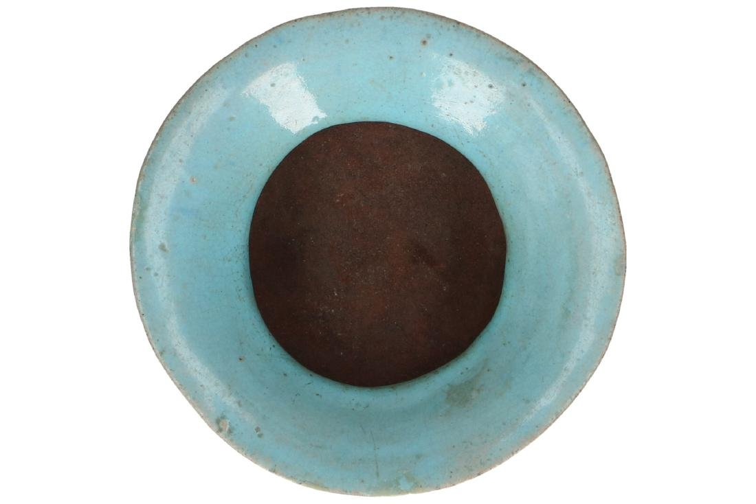 A turquoise glazed stoneware tripod censer on wooden - 4