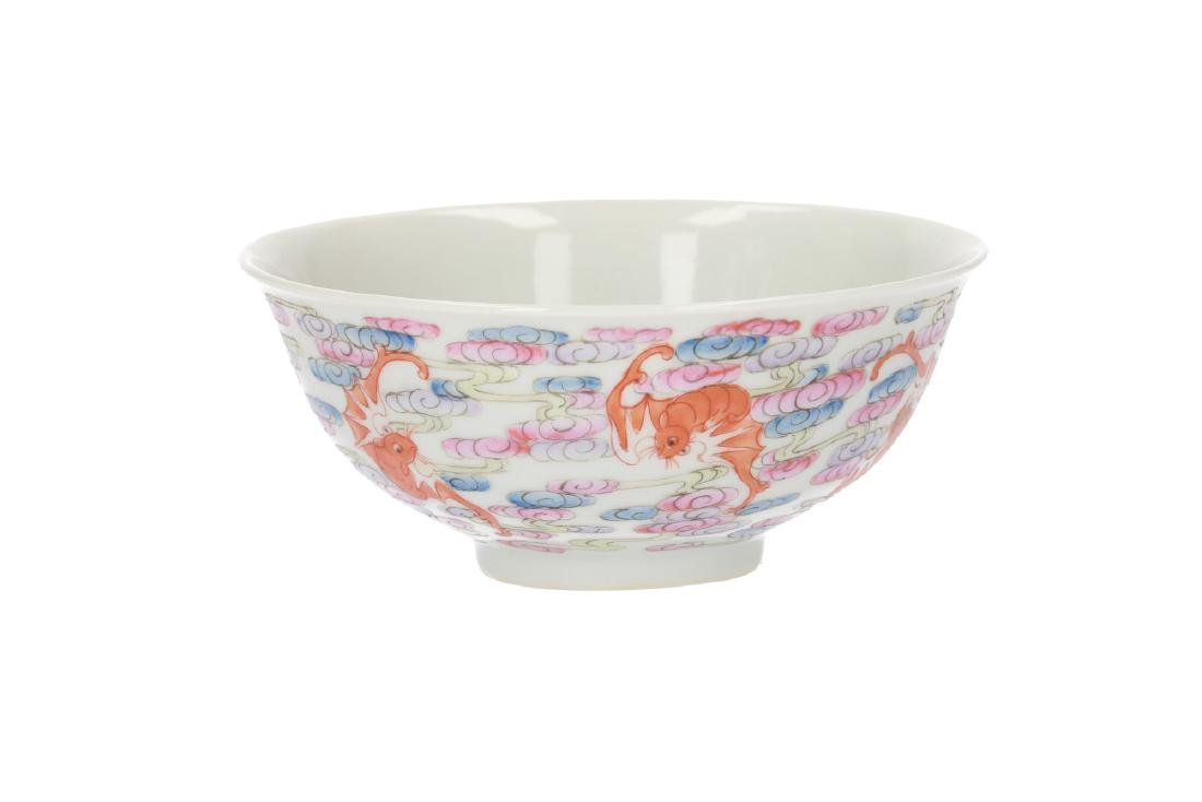 A polychrome porcelain bowl, decorated with bats and