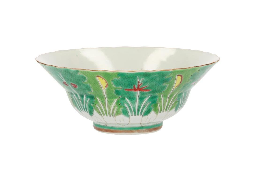 A polychrome porcelain bowl, decorated with flowers and