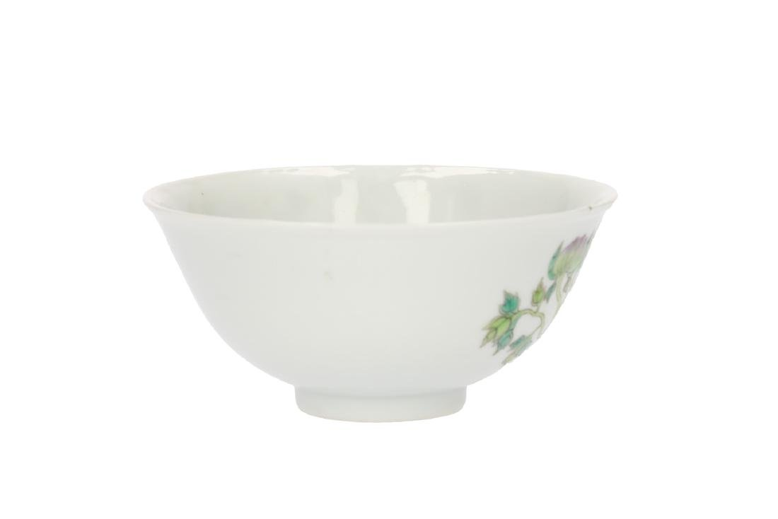 A polychrome porcelain bowl, decorated with flowers. - 2