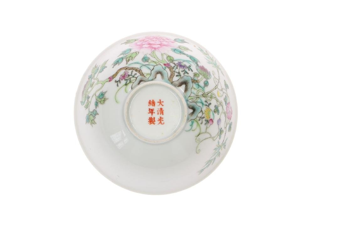 A polychrome porcelain bowl, decorated with flowers. - 5