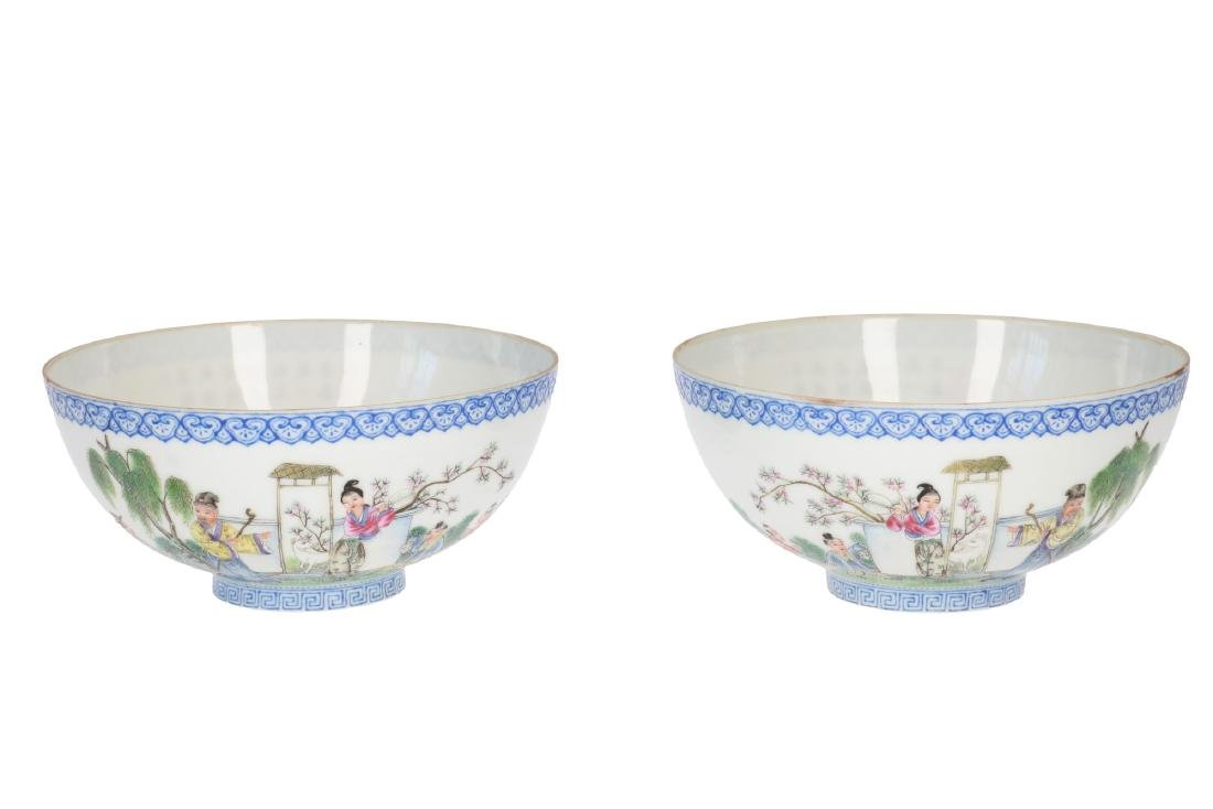 A pair of polychrome eggshell porcelain bowls,