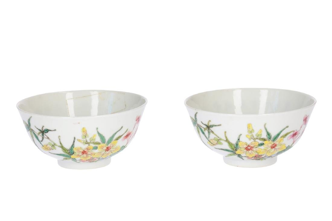 A pair of polychrome porcelain bowls decorated with