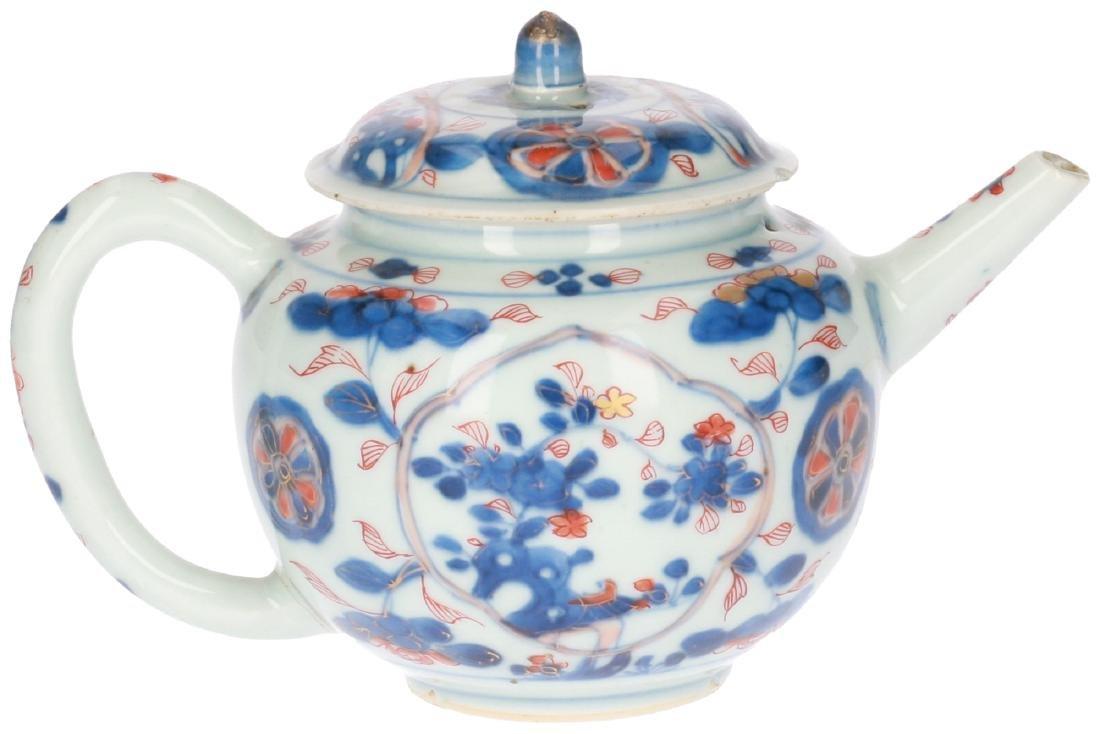 A lot of two polychrome porcelain teapots, 1) Imari, - 3