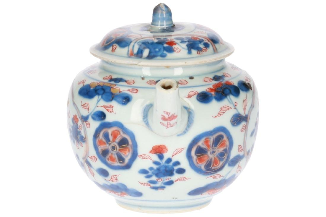 A lot of two polychrome porcelain teapots, 1) Imari, - 4