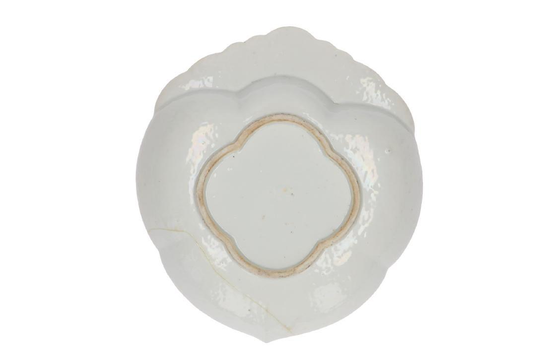 A Famille Verte porcelain leaf-shaped dish, decorated