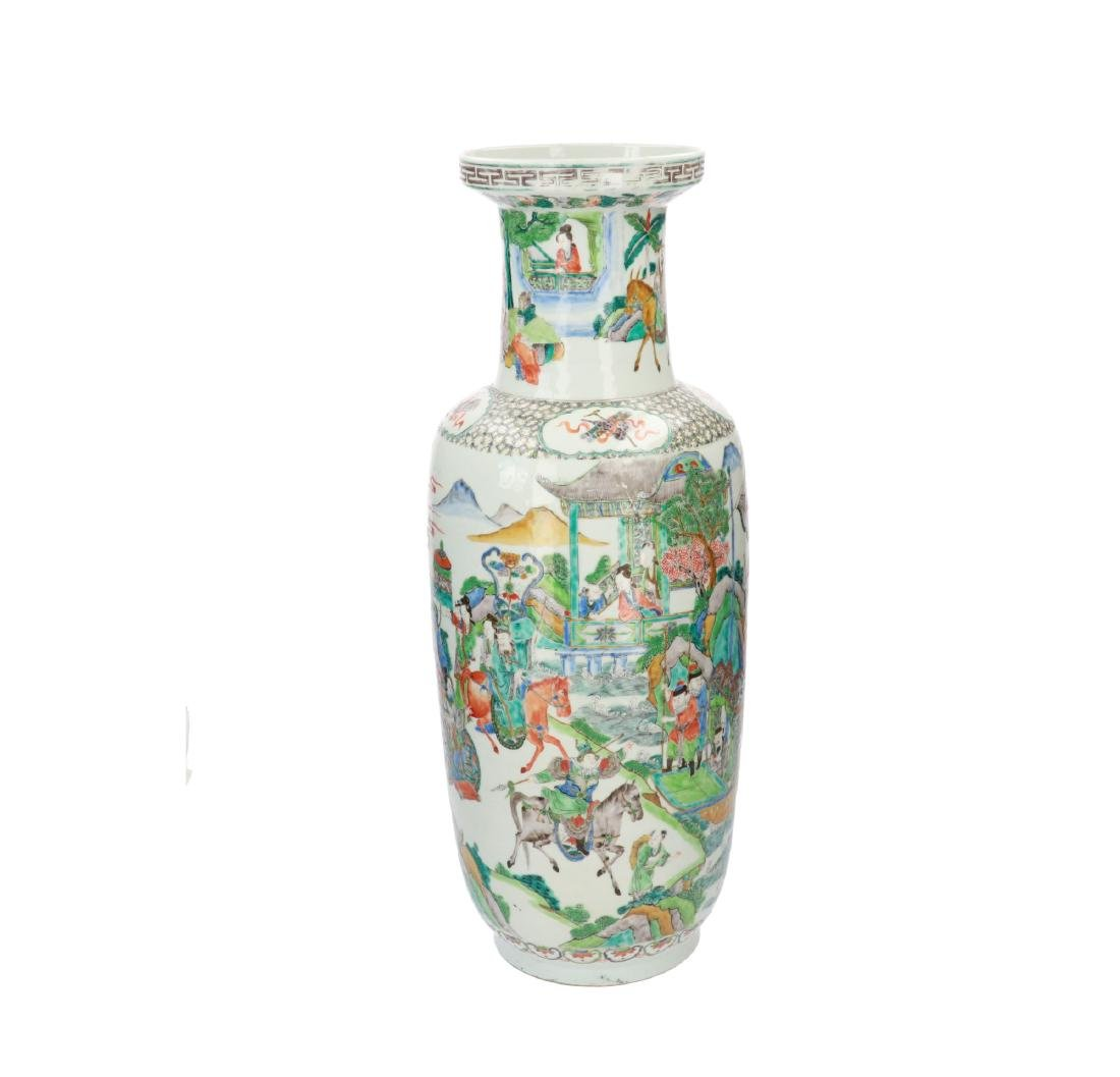 A Famille Verte porcelain rouleau vase, decorated with