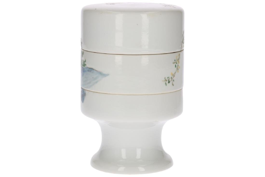 A polychrome porcelain three-story candy jar, decorated - 2
