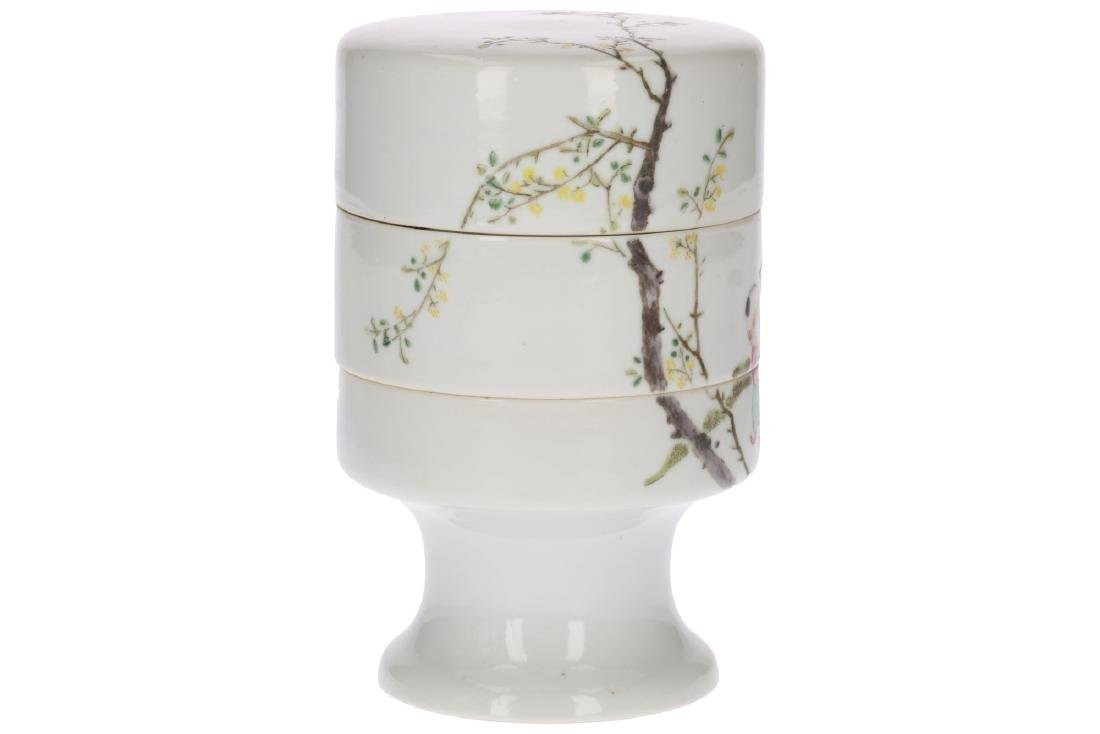 A polychrome porcelain three-story candy jar, decorated - 3