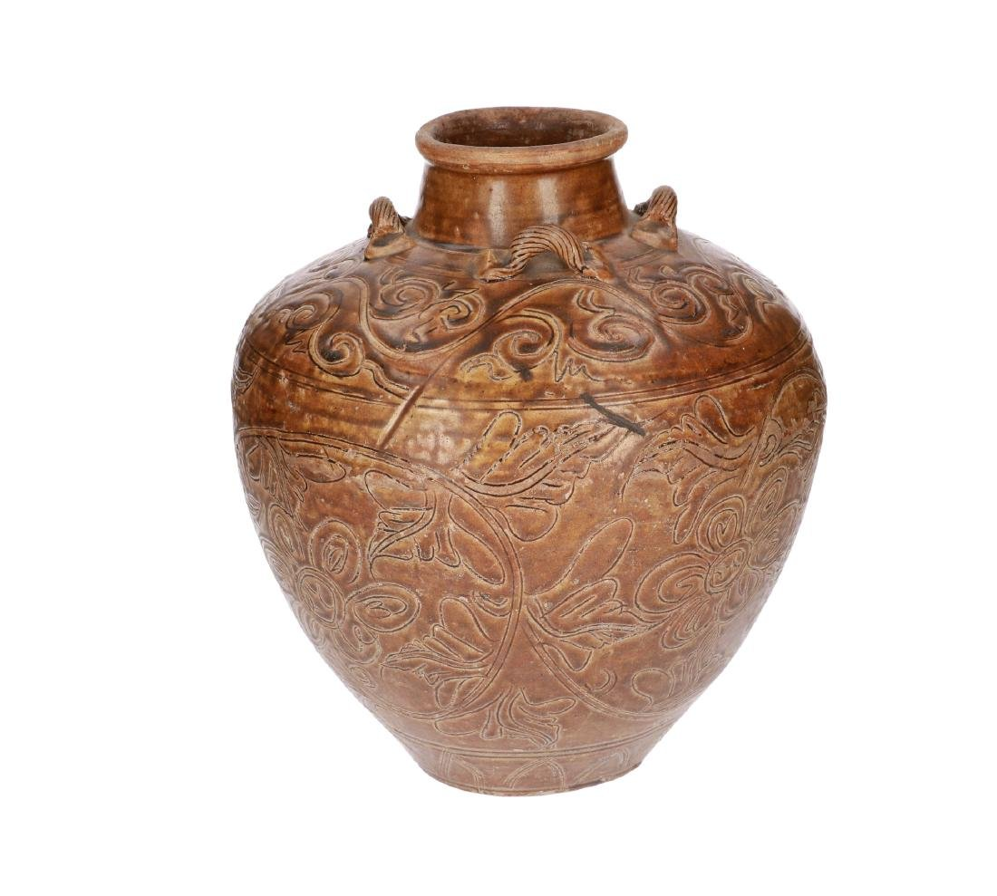 A brown glazed stoneware Martavan with four grips, with - 2